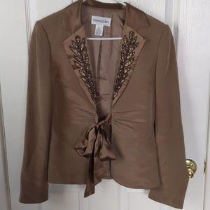 Bloomingdale's silk satin sequin blazer sz 6